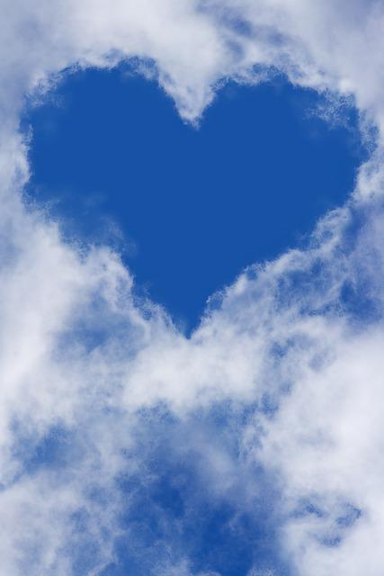 Heart, Sky, Clouds, Blue Sky