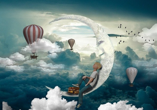 Boy, Jeans, Shirts, Moon, Balloon, Clouds, Sky