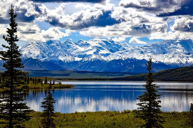 Denali National Park, Alaska, Sky, Clouds, Mountains
