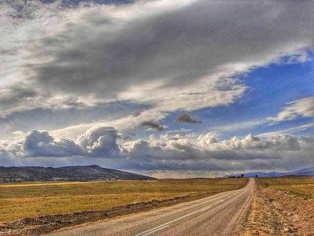 Ankara, Landscape, Road, Sky, Clouds, Fields, Farm