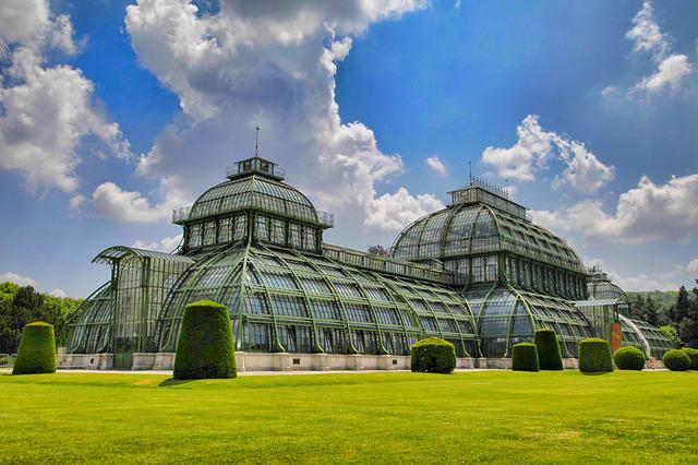 Vienna, Schönbrunn, Palm House, Clouds, Sky