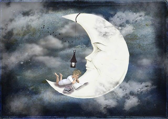 Moon, Boy, Books, Clouds, Sky, Lantern, Read, Dream