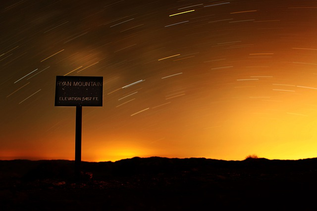 California, Ryan Mountain, Sky, Clouds, Stars, Sunset