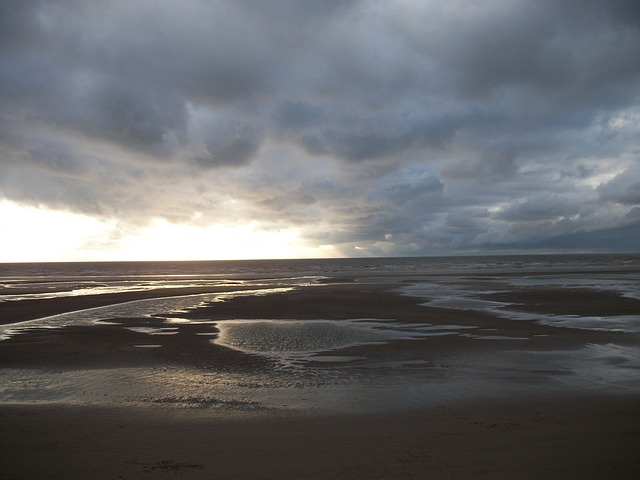 Blackpool, Beach, Storm, Clouds, Sand, Water