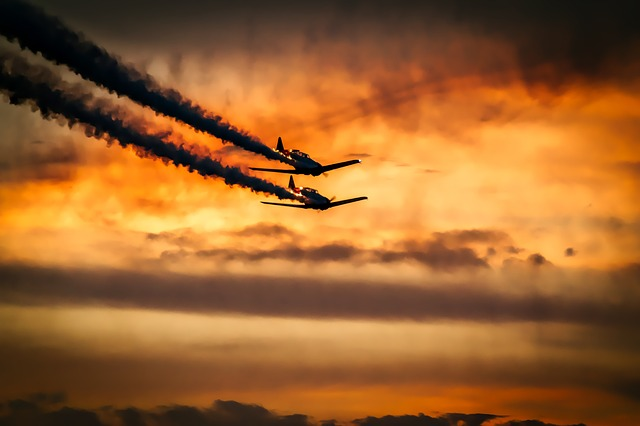 Sunset, Airplanes, Aircraft, Sky, Clouds, Contrails