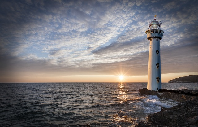 Lighthouse, Glow, Evening, Clouds, Sunset, Ocean, Sea