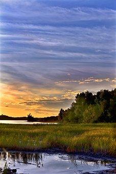 Sunset, Twilight, Landscape, Clouds, Evening, Lake