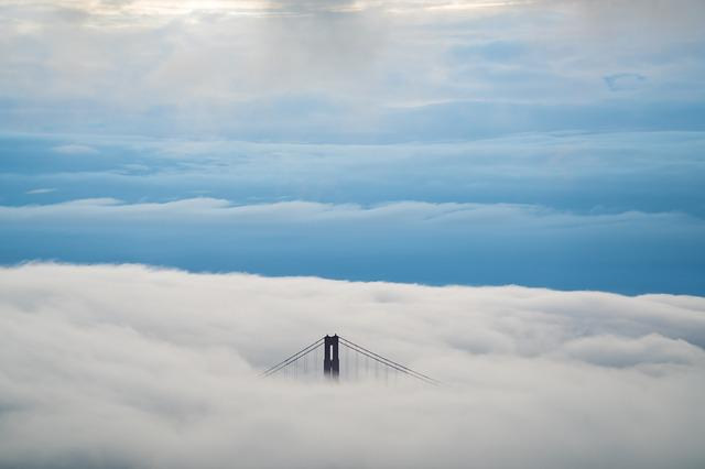 Bridge, Clouds, Cloudscape, Sky, Suspension Bridge