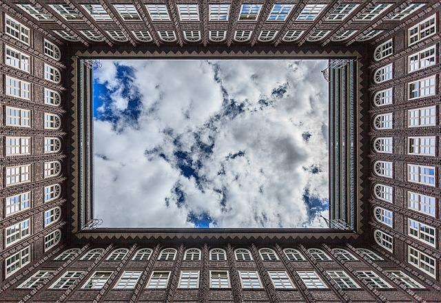 Chilehaus, Building, Clouds, Sky, Symmetry, Symmetrical