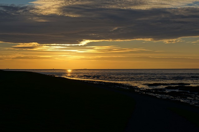 Sunrise, Wad, Terschelling, Evening, Clouds, Atmosphere