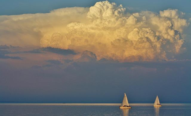Lake Balaton, Tihany, Clouds, Nature