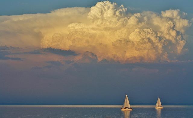 Lake Balaton, Tihany, Clouds, Nature