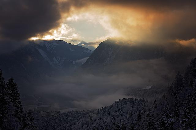 Landscape, Morning, Mountains, Sky, Valley, Fog, Clouds