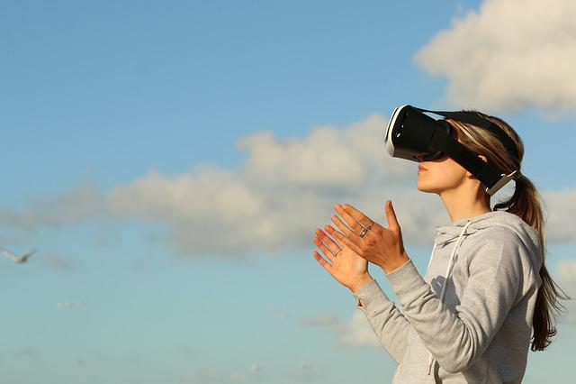 Woman, Virtual Reality, Game, Clouds, Ar