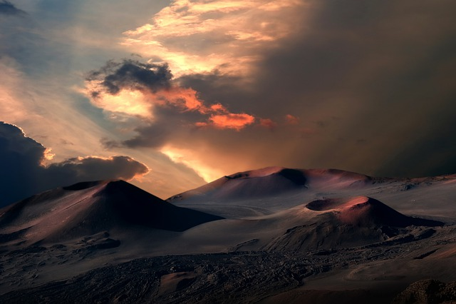 Landscape, Volcanoes, Crater, Sunset, Sky, Clouds