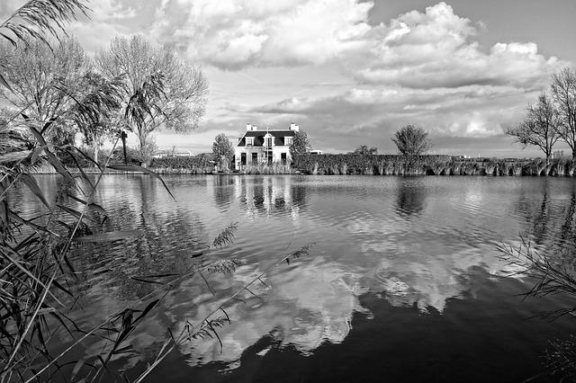 Water, River, Shore, House, Clouds, Reflections, Bw