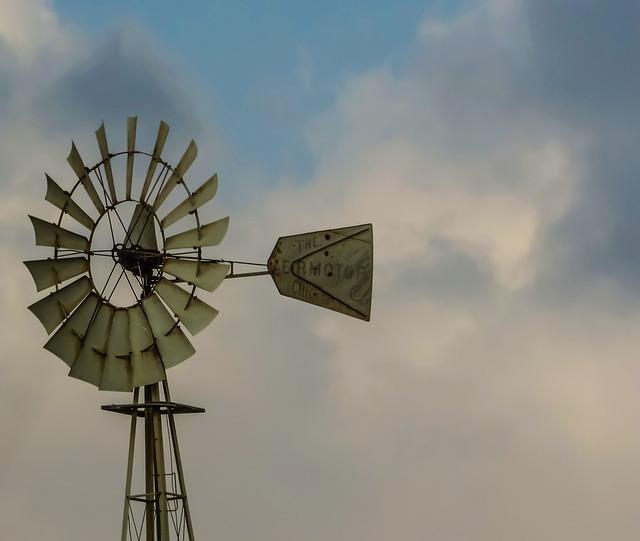 Windmill, Wheel, Wind, Weather, Clouds, Sky, Water