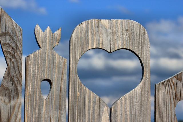 Wood, Fence, Heart, Sky, Clouds, Boards, Paling