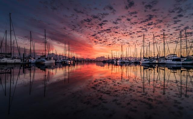 Landscape, Yacht, Sunrise, Clouds, Reflection, Sea