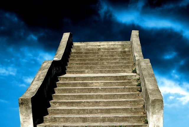 Old, Concrete, Stairs, Going, Blue, Cloudy, Sky, Heaven