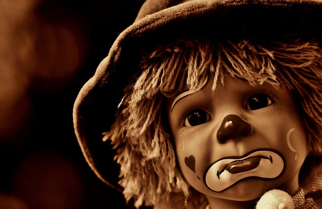 Doll, Clown, Sad, Sepia, Sweet, Funny, Toys, Children
