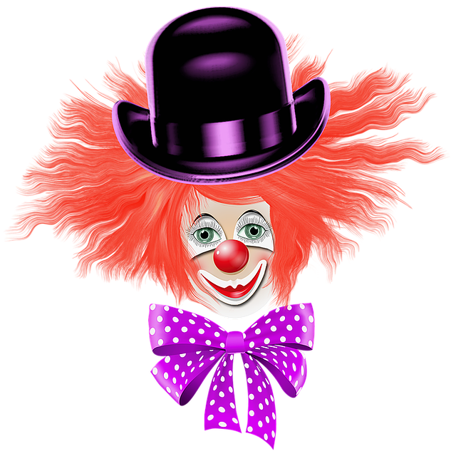 Clown Red Hair, Red Nose, Hat, Bows