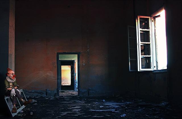 Room, Clown, Window, Joke, Collage, Cigarette, Smoke