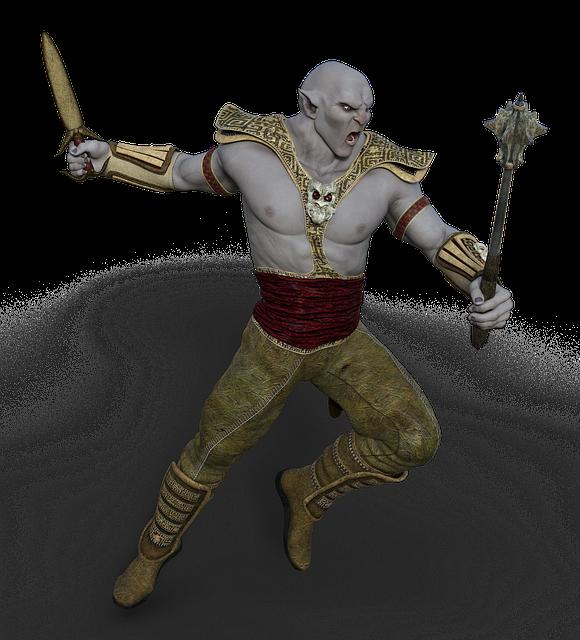 Ork, Warrior, Club, Sword, Fantasy, Mythical Creatures
