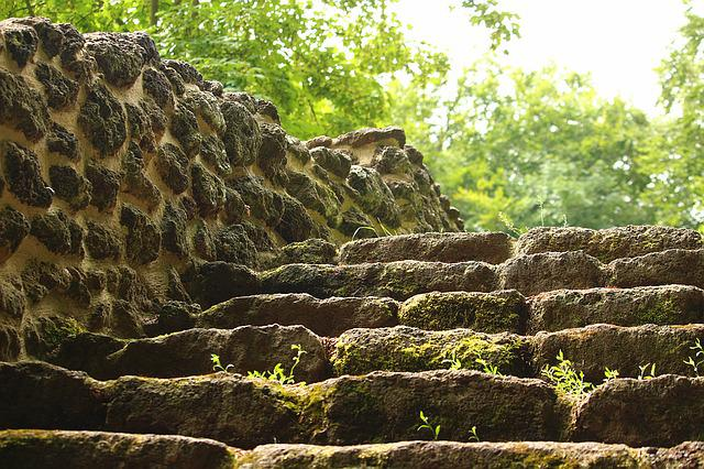 Stairs, Ruin, Wall, Rasenerz, Clumping Stone