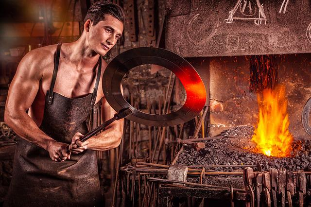 Blacksmith, Fire, Iron, Coal, Glow, Oven, Heat, Embers