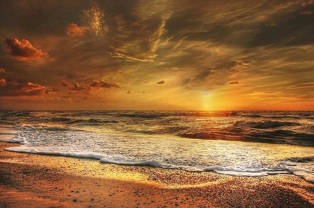 Sunset, North Sea, Sea, Abendstimmung, Beach, Coast