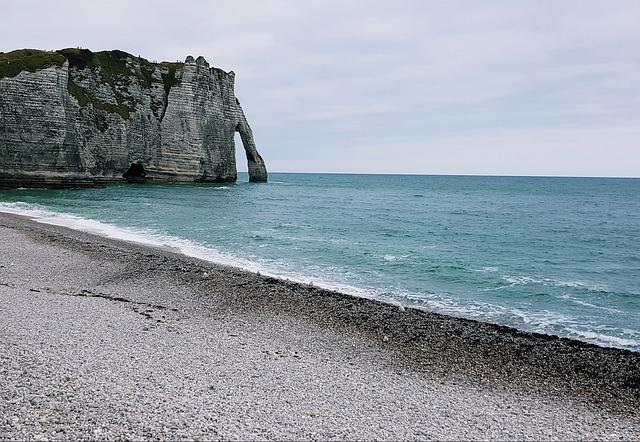 Coast, Beach, Felsentor, Normandy, Etretat, Cliff, Rock