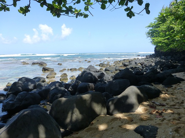 Kauai, Hawaii, Beach, Sand, Rocks, Coast, Cliff