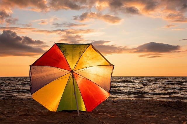 Sunset, Beach Umbrella, Ocean, Landscape, Coast