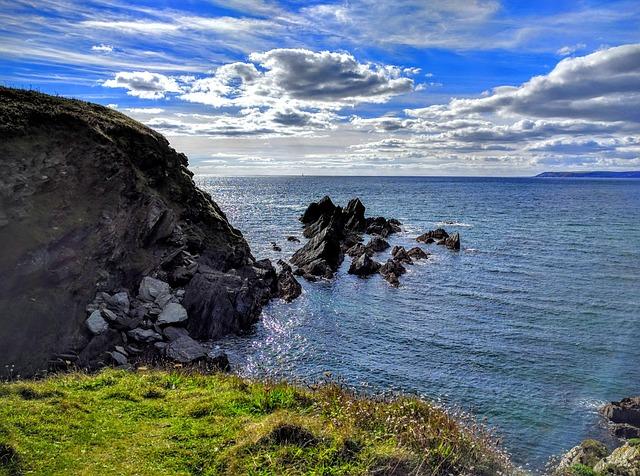 Rocks, Sea, Coast, Cornwall, Clouds, Horizon, Seascape