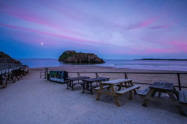 Full Moon, In The Evening, Coast, Beach, Tenby, Wales