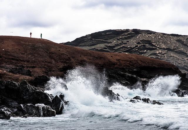 Lanzarote, Spray, Surf, Silhouette, Coast, El Golfo