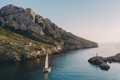 Boat, Coast, Island, Nature, Ocean, Rocks, Sailboat
