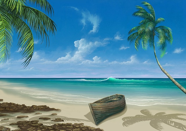 Beach, Boat, Painting, Paradise, Palm, Coast, Sand