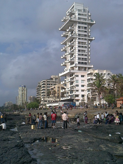 Sea, Shore, Rocky, Coast, Mumbai, Skyline, Skyscraper