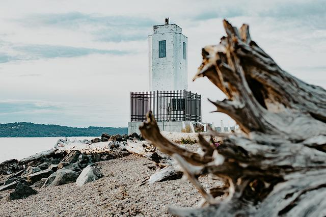 Lighthouse, Beach, Log, Sand, Rocks, Sea, Nature, Coast