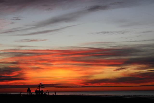 Oostende, West-vlaanderen, Sunset, Coast, North Sea