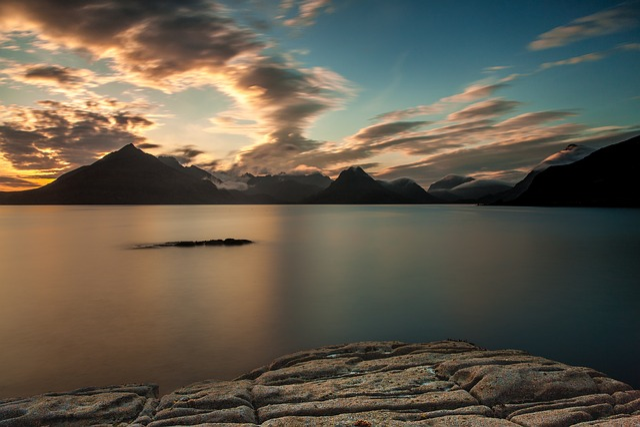 Lake, Mountains, Sunset, Dusk, Twilight, Evening, Coast