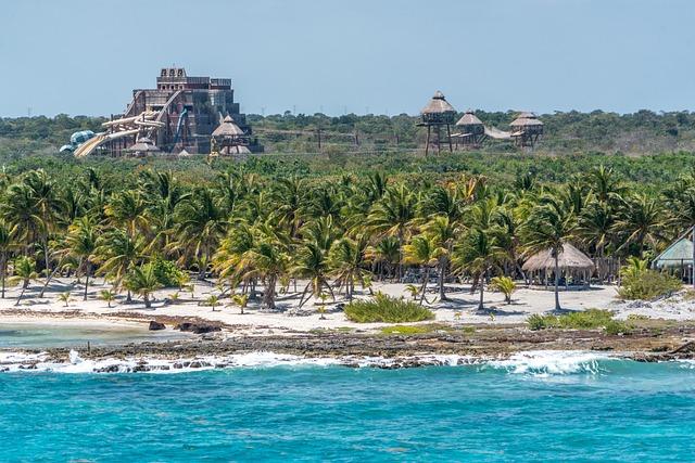 Caribbean, Coast Waves, Rocky, Palm Trees, Tropical
