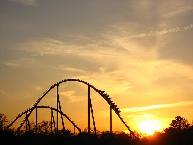 Sunset, Roller Coaster, Ride, Coaster, Silhouette