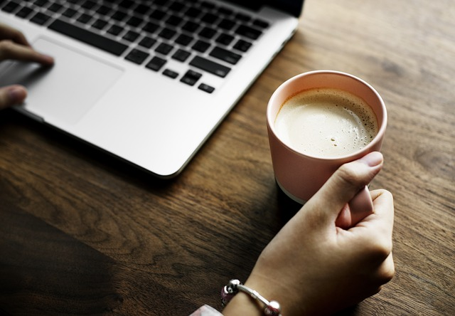 Laptop, Coffee, Table, Aerial, Background, Beverage
