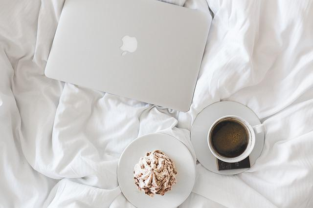 Coffee, Cup, Apple, Laptop, Working, Bed, Bedroom