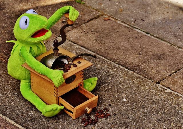 Kermit, Frog, Grinder, Coffee Beans, Grind, Funny, Cute