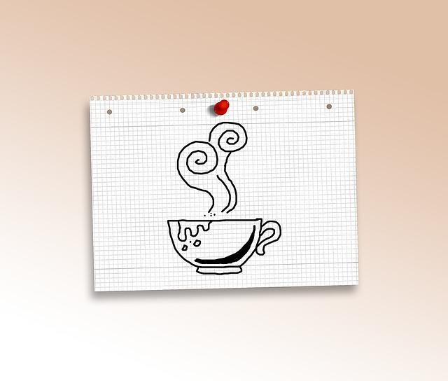 Doodle, Coffee, Tee, Cup, Paper, Diamonds, Pin