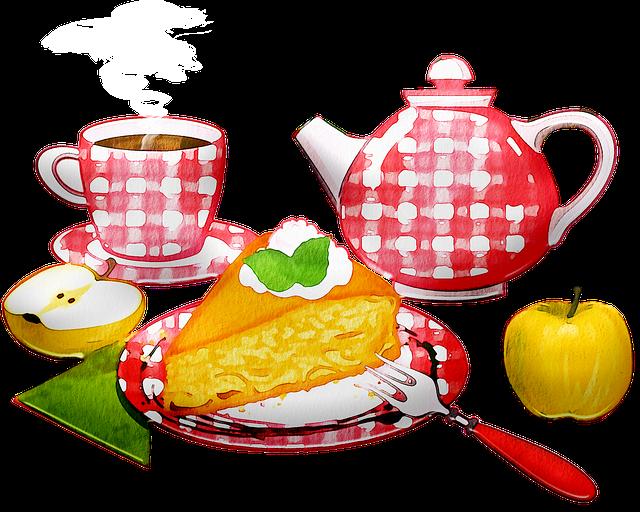 Watercolor Tea, Apple Pie, Tea, Coffee, Cake, Dessert